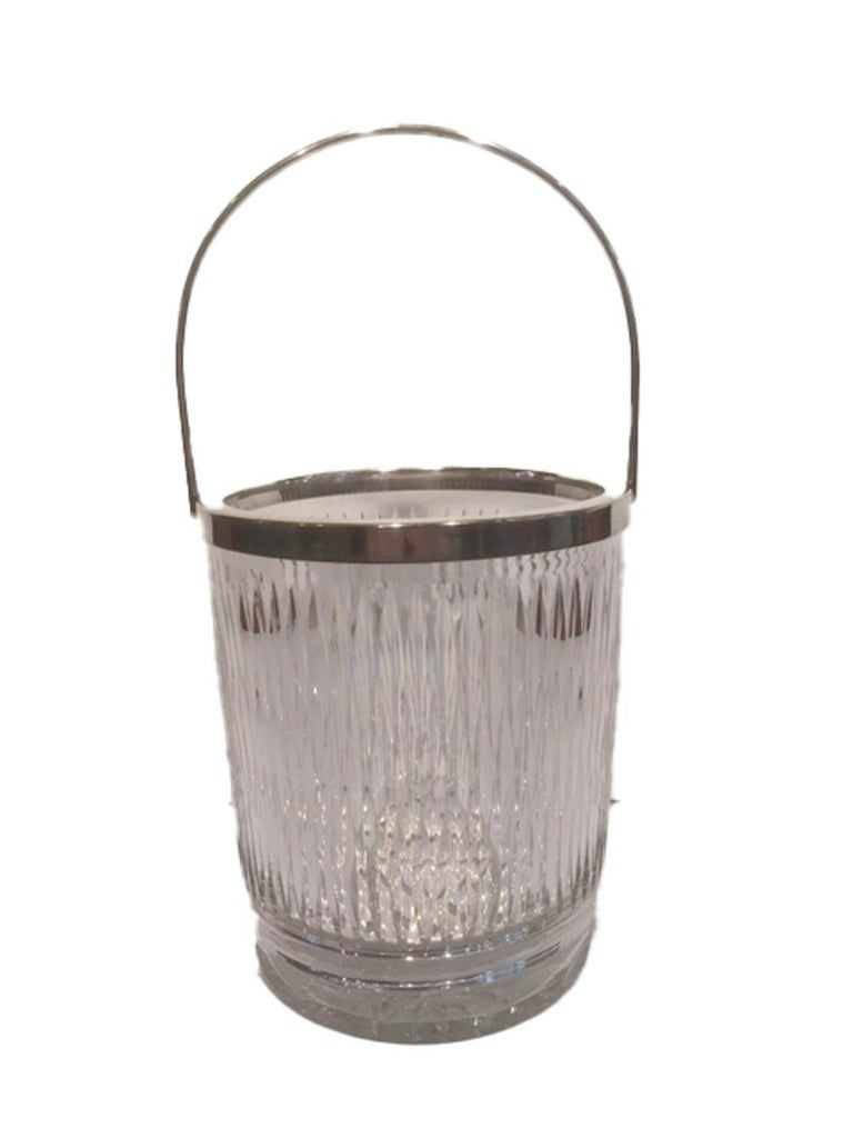 Mid-Century Modern Vintage Cut Glass Ice Bucket of Pail-Form with Silver-Plate Rim and Handle For Sale