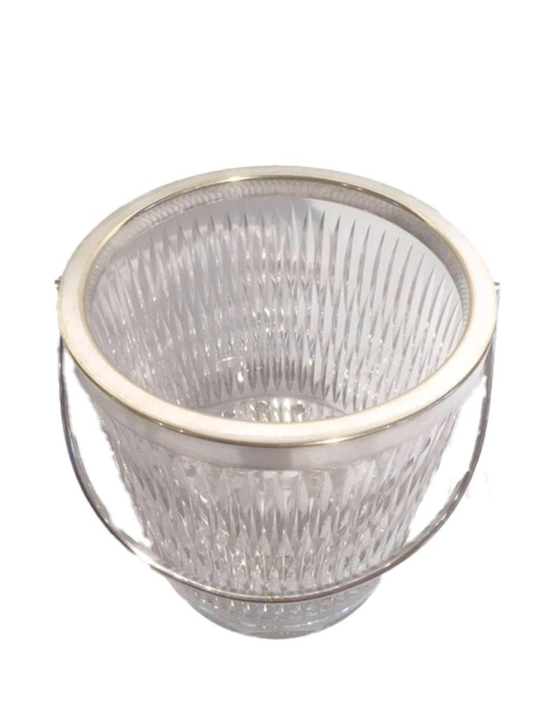American Vintage Cut Glass Ice Bucket of Pail-Form with Silver-Plate Rim and Handle For Sale