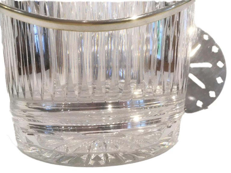 Vintage Cut Glass Ice Bucket of Pail-Form with Silver-Plate Rim and Handle In Good Condition For Sale In Nantucket, MA