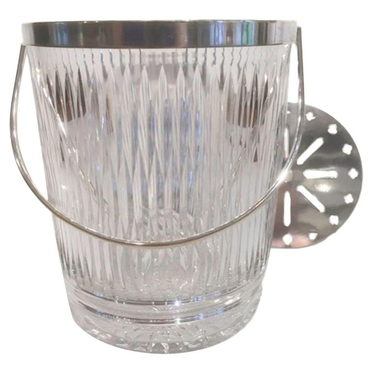 Vintage Cut Glass Ice Bucket of Pail-Form with Silver-Plate Rim and Handle For Sale
