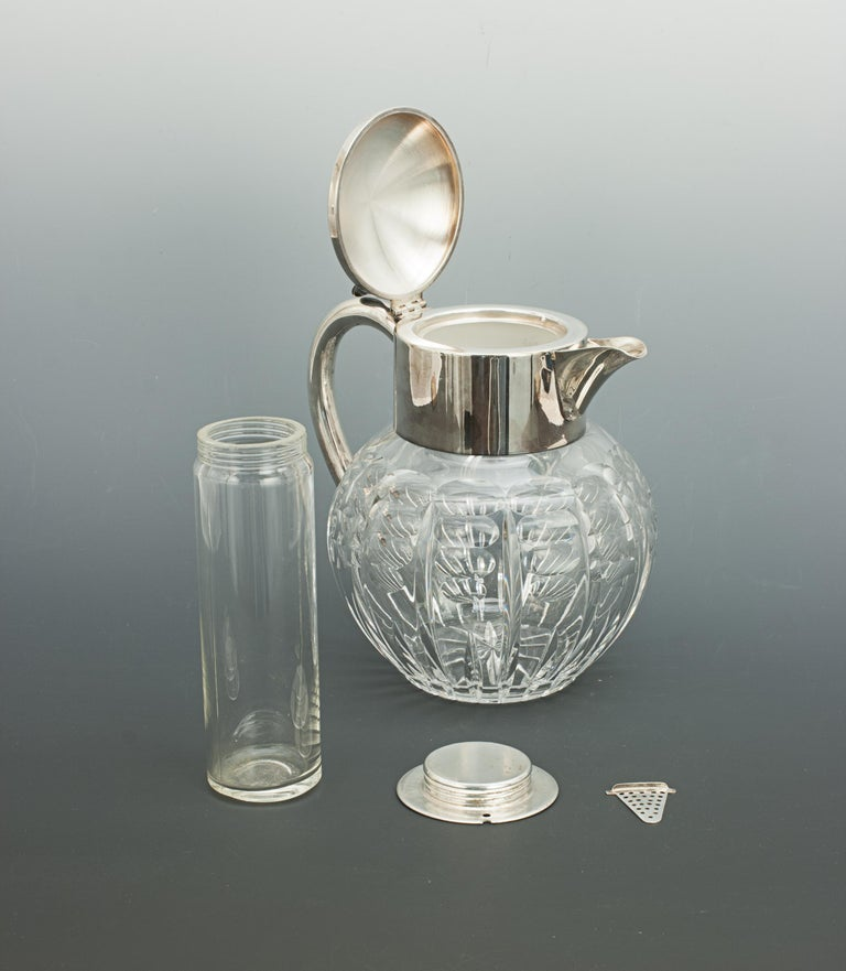 20th Century Vintage Cut Glass Lemonade Jug with Cooler For Sale