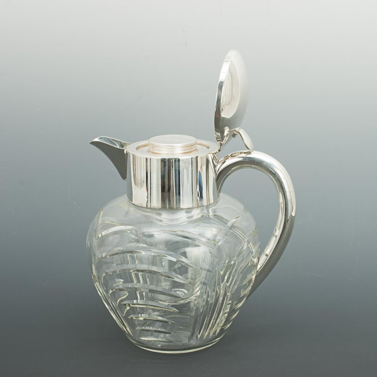 Vintage Cut Glass Lemonade Jug with Cooler German, circa 1950 In Good Condition For Sale In Oxfordshire, GB