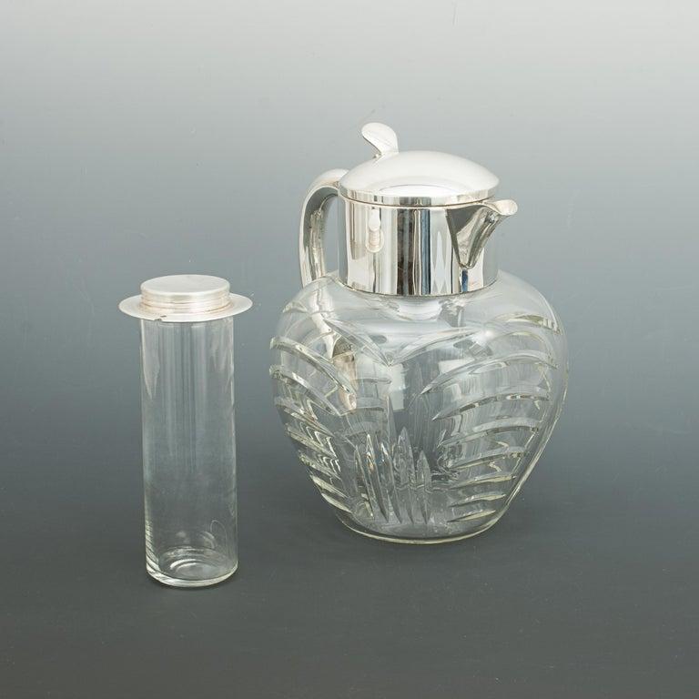 Mid-20th Century Vintage Cut Glass Lemonade Jug with Cooler German, circa 1950 For Sale
