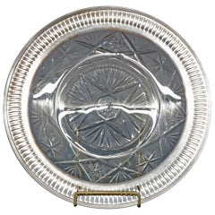 Vintage Cut Glass and Sterling Silver Serving Tray, circa 1940