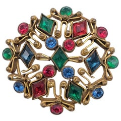 Vintage Czech Brooch With Multicolor Rhinestones 1930's