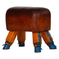 Vintage Czech Leather Turnbock Gym Stool Bench, 1930s