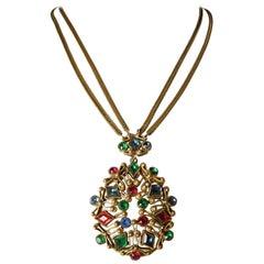 Vintage Czech Multi-Color Drop Necklace