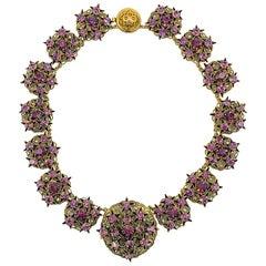 Vintage Czech Purple Crystal Filigree Star Collar 1940s