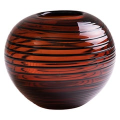 Vintage Czech Tarnowiec Amber Vase with Black Swirl Pattern Detail
