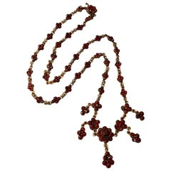 Vintage Czechoslovakian Garnet Long Gold Washed Gold Filled Necklace