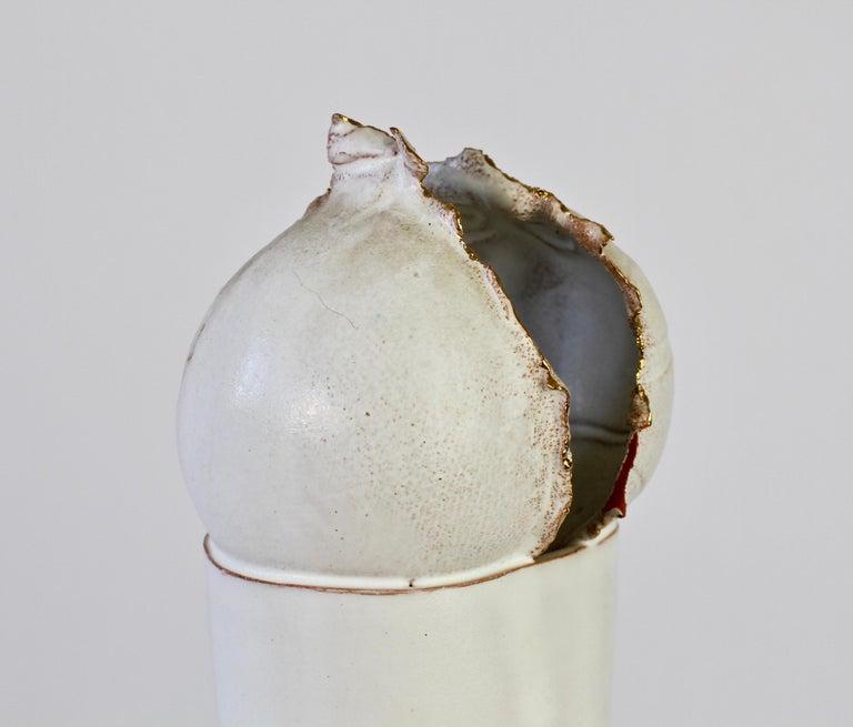 Vintage Czechoslovakian Organic Ceramic White Pottery Vase by Jiří Dudycha For Sale 4