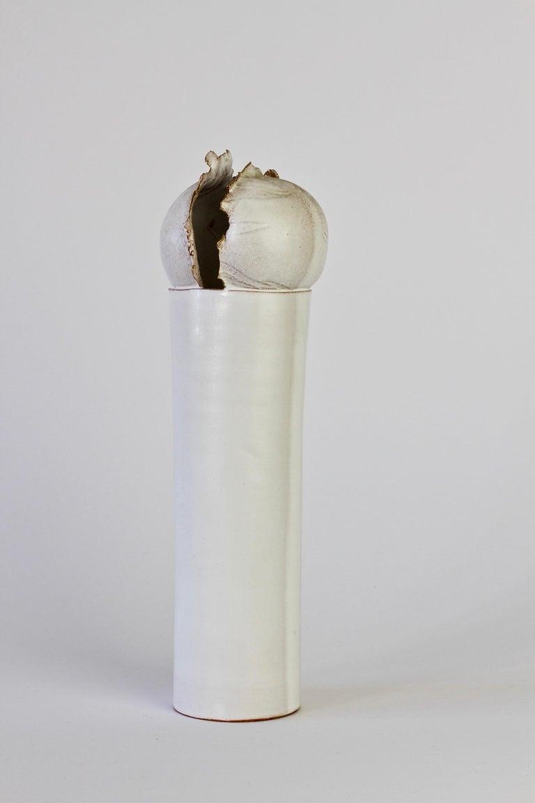 Vintage Czechoslovakian Organic Ceramic White Pottery Vase by Jiří Dudycha For Sale 8