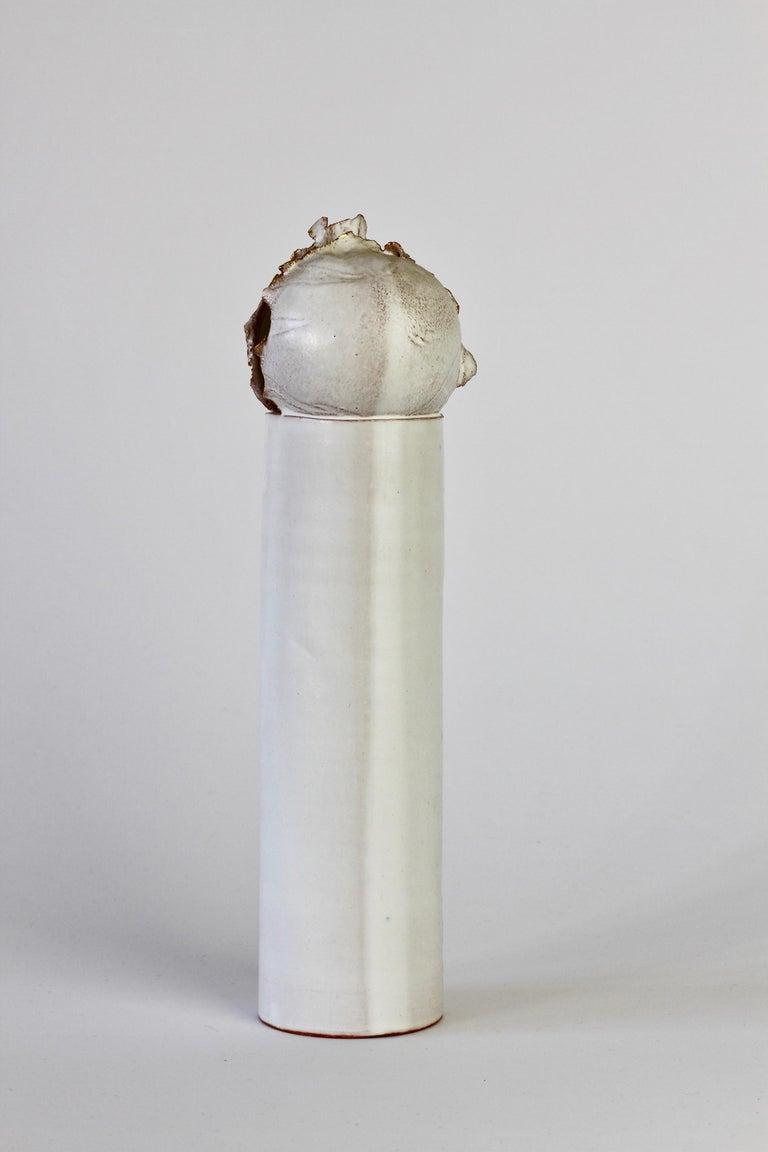 Vintage Czechoslovakian Organic Ceramic White Pottery Vase by Jiří Dudycha For Sale 9