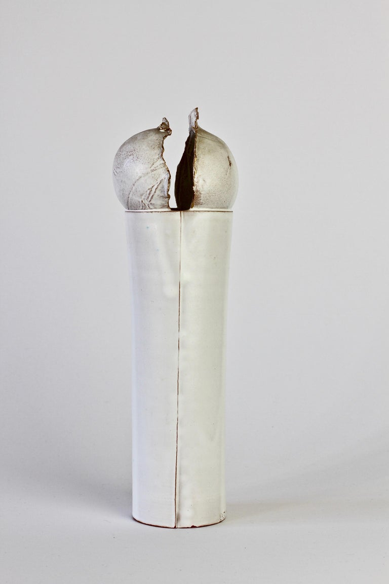 Vintage Czechoslovakian Organic Ceramic White Pottery Vase by Jiří Dudycha For Sale 12