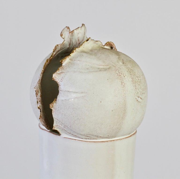 20th Century Vintage Czechoslovakian Organic Ceramic White Pottery Vase by Jiří Dudycha For Sale