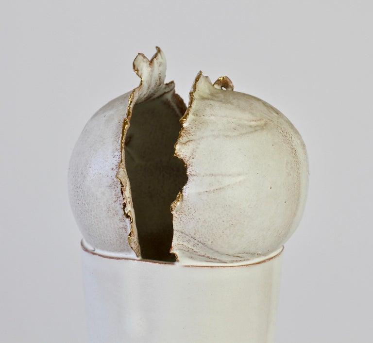 Vintage Czechoslovakian Organic Ceramic White Pottery Vase by Jiří Dudycha For Sale 1
