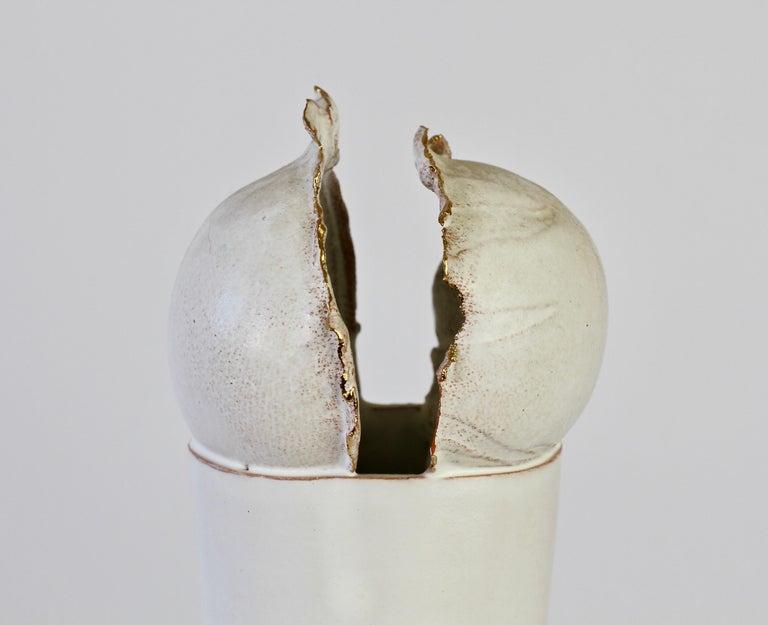 Vintage Czechoslovakian Organic Ceramic White Pottery Vase by Jiří Dudycha For Sale 2