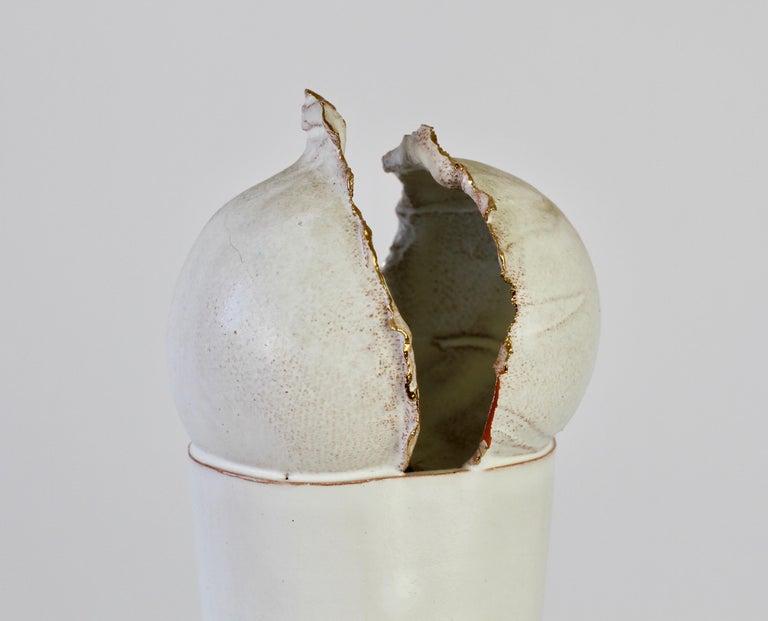 Vintage Czechoslovakian Organic Ceramic White Pottery Vase by Jiří Dudycha For Sale 3