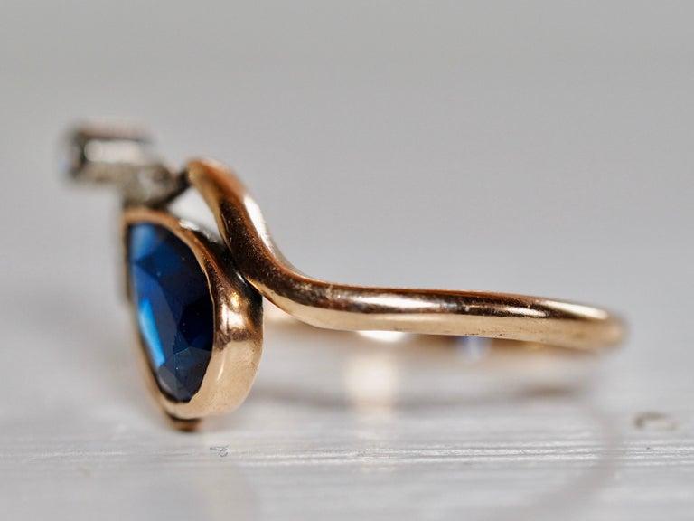 Pear Cut Vintage Dainty Art Deco Blue Sapphire Pear Ring