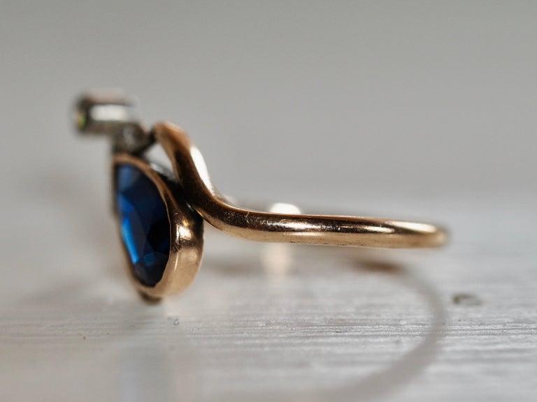 Women's or Men's Vintage Dainty Art Deco Blue Sapphire Pear Ring