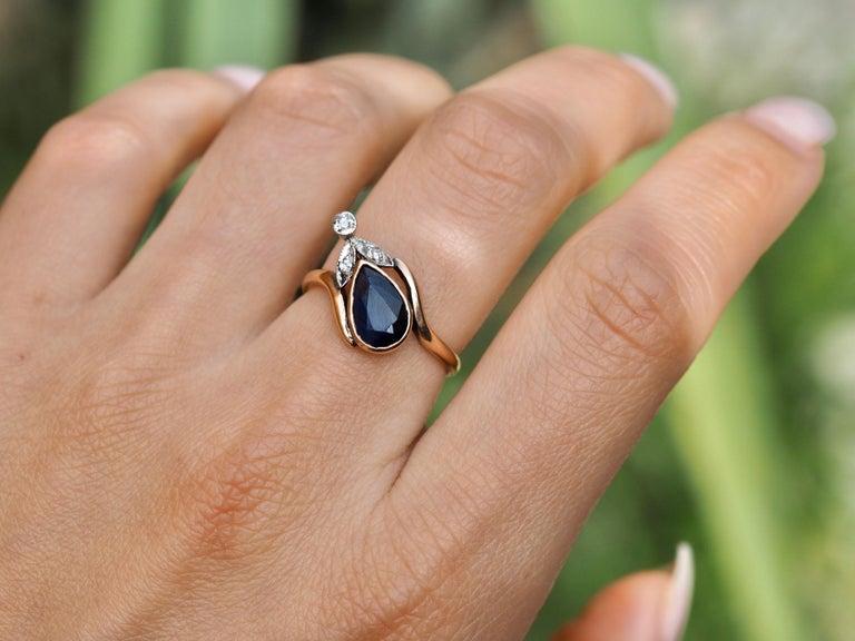 Vintage Dainty Art Deco Blue Sapphire Pear Ring 1