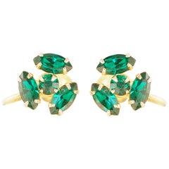 Vintage Dainty Emerald Rhinestone Earrings by Coro, 1950s