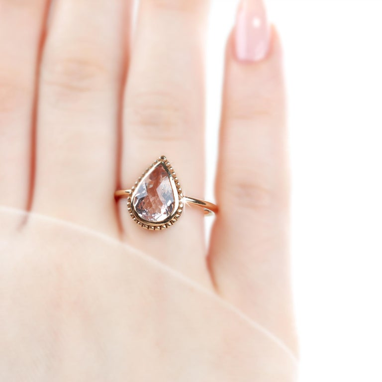 Modern Vintage Dainty Pear Shape Morganite Ring For Sale