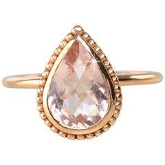 Vintage Dainty Pear Shape Morganite Ring