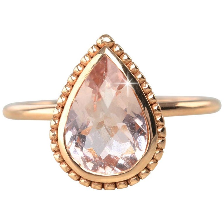Vintage Dainty Pear Shape Morganite Ring For Sale
