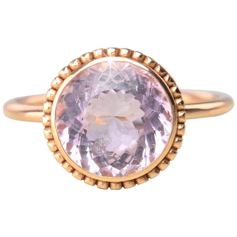 Vintage Dainty Round Morganite Ring, 14 Carat Rose Gold For Sale