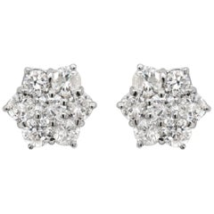 Vintage Daisy Diamond 18 Carat White Gold Cluster Stud Earrings