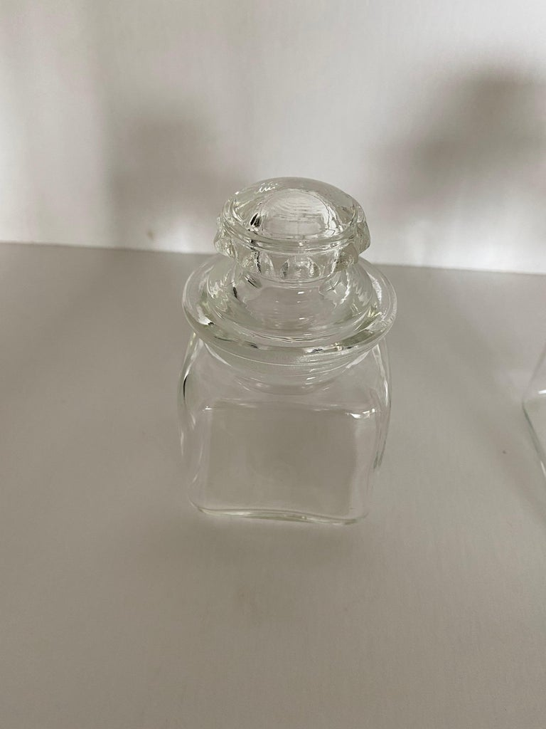 Vintage Dakota Square Drugstore Apothecary Ground Glass Jars with Lids For Sale 2