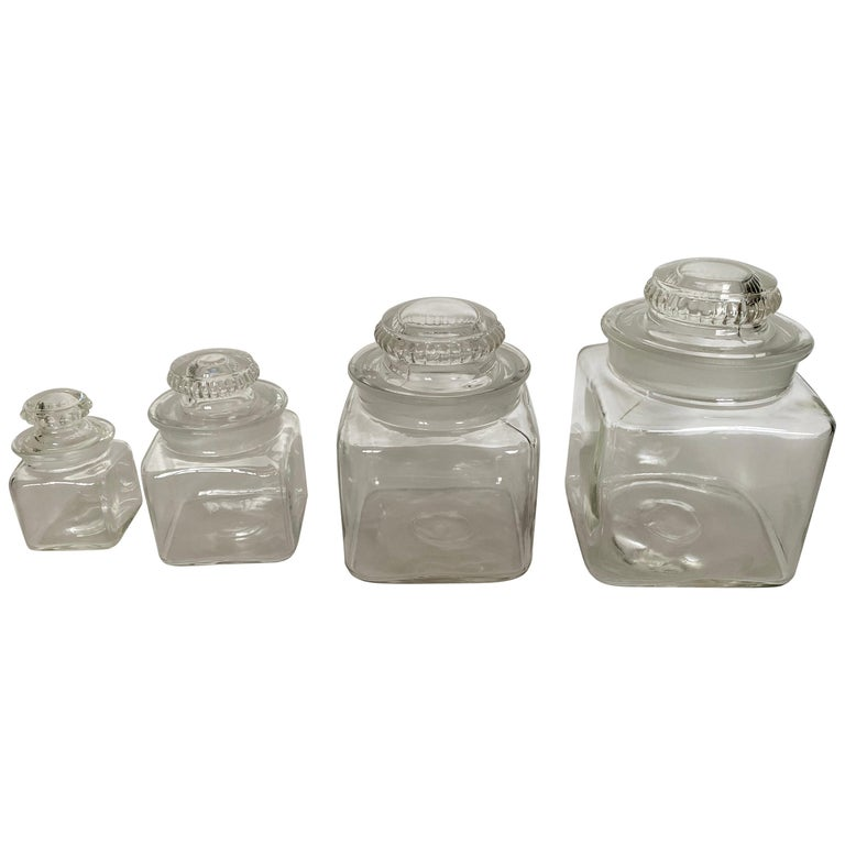 Vintage Dakota Square Drugstore Apothecary Ground Glass Jars with Lids For Sale