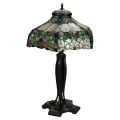 Vintage Dale Tiffany Leaded Glass Table Lamp with Bronzed Metal Base, 20th C