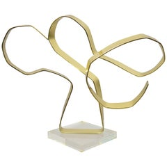 Vintage Dan Murphy 1976 Brass Ribbon Abstract Sculpture on Lucite Base, Signed