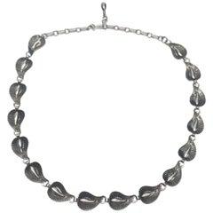 Vintage Danecraft Sterling Silver Small Leaf Link Necklace