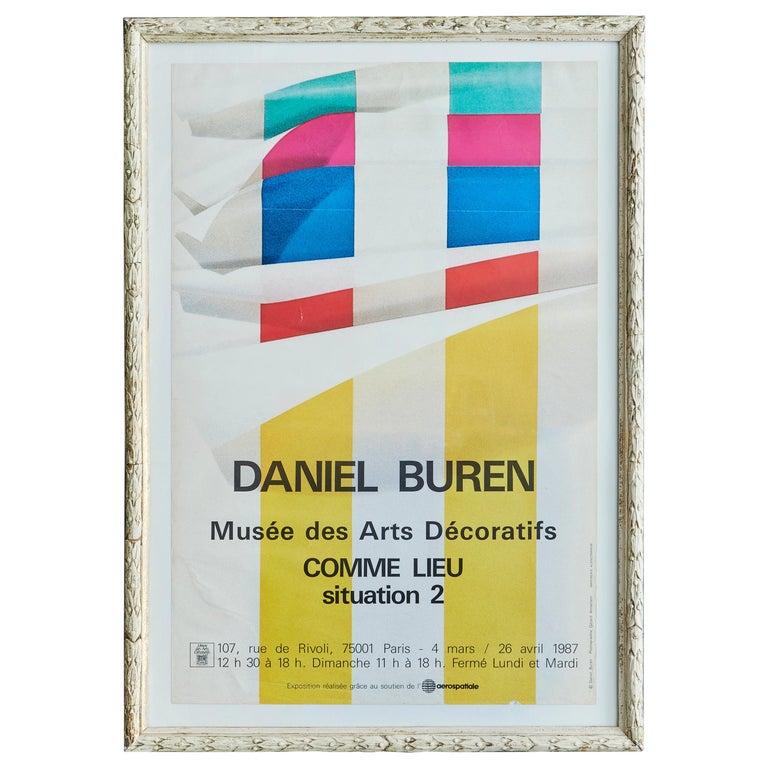 """Vintage Daniel Buren """"Comme Lieu, Situation 2"""" Exhibition Poster, France, 1987 For Sale"""