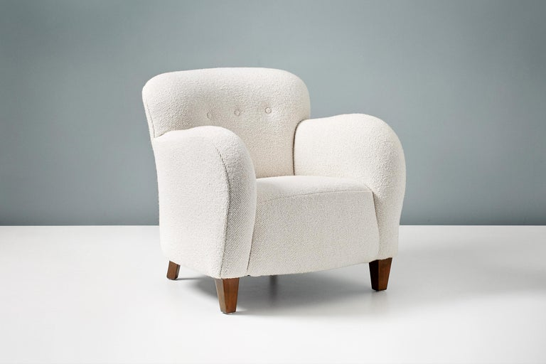 Mid-20th Century Vintage Danish 1950s Boucle Armchair For Sale