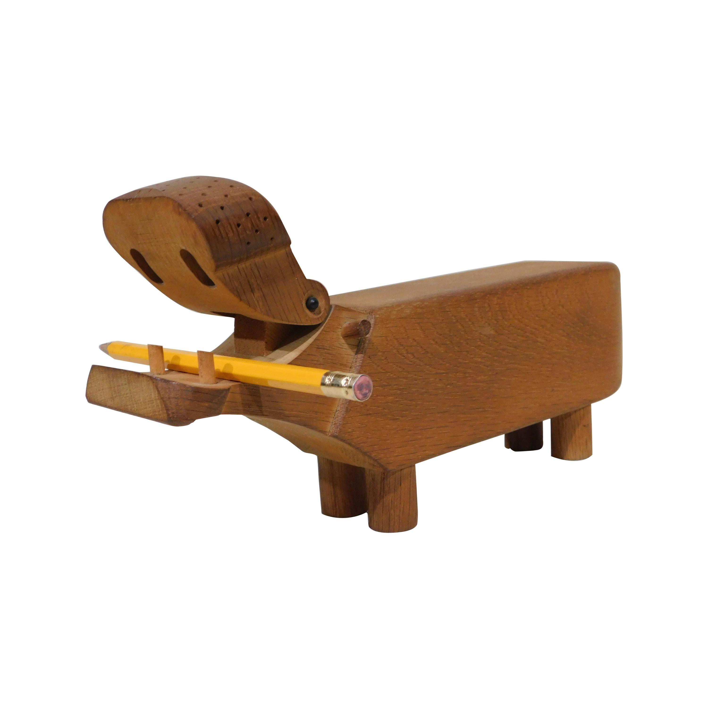 Vintage Danish 1950s Kay Bojesen Hippo Wooden Oak Desk Pencil Holder Figurine