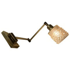 Vintage Danish Adjustable Brass and Glass Sconce from Abo Metalkunst, 1970s