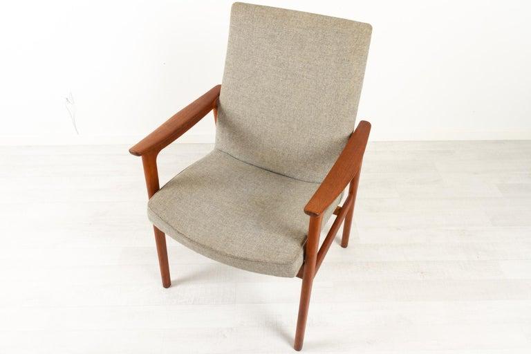 Wool Vintage Danish Armchair in Teak by Erik Kierkegaard for Høng, 1960s