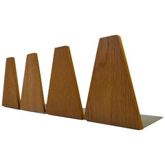 Vintage Danish Bookends in Oak by ESA Denmark, 1960s, Set of Four