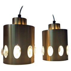 Vintage Danish Brass and Crystal Prisms Pendant Lamps from Vitrika, 1960s