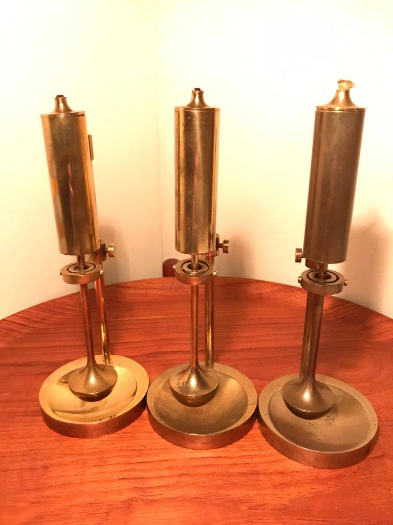Mid-20th Century Vintage Danish Brass Oil Lamp Designed by Ilse Ammonsen For Sale
