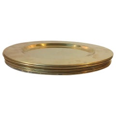 Vintage Danish Brass Plates by Cawa, 1960s, Set of 8