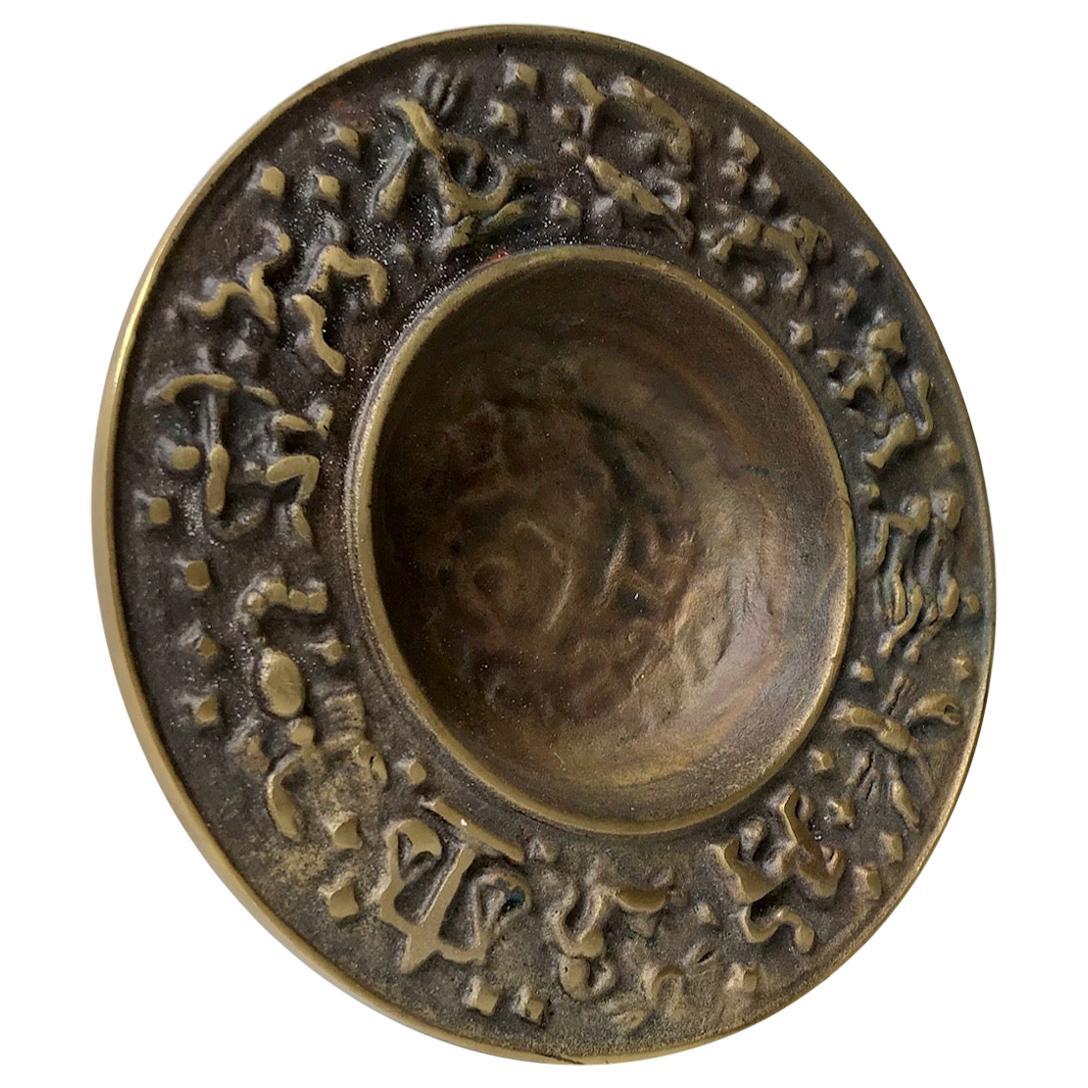 Vintage Danish Bronze Zodiac Dish from Nordisk Malm, 1940s