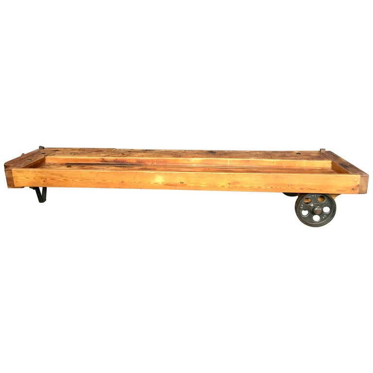 Vintage Danish Carpenters Work Bench Coffee Table in Beechwood For Sale