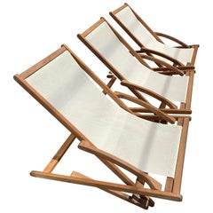 Vintage Danish Cattie Teak Fold Out Rocking Sling Chairs