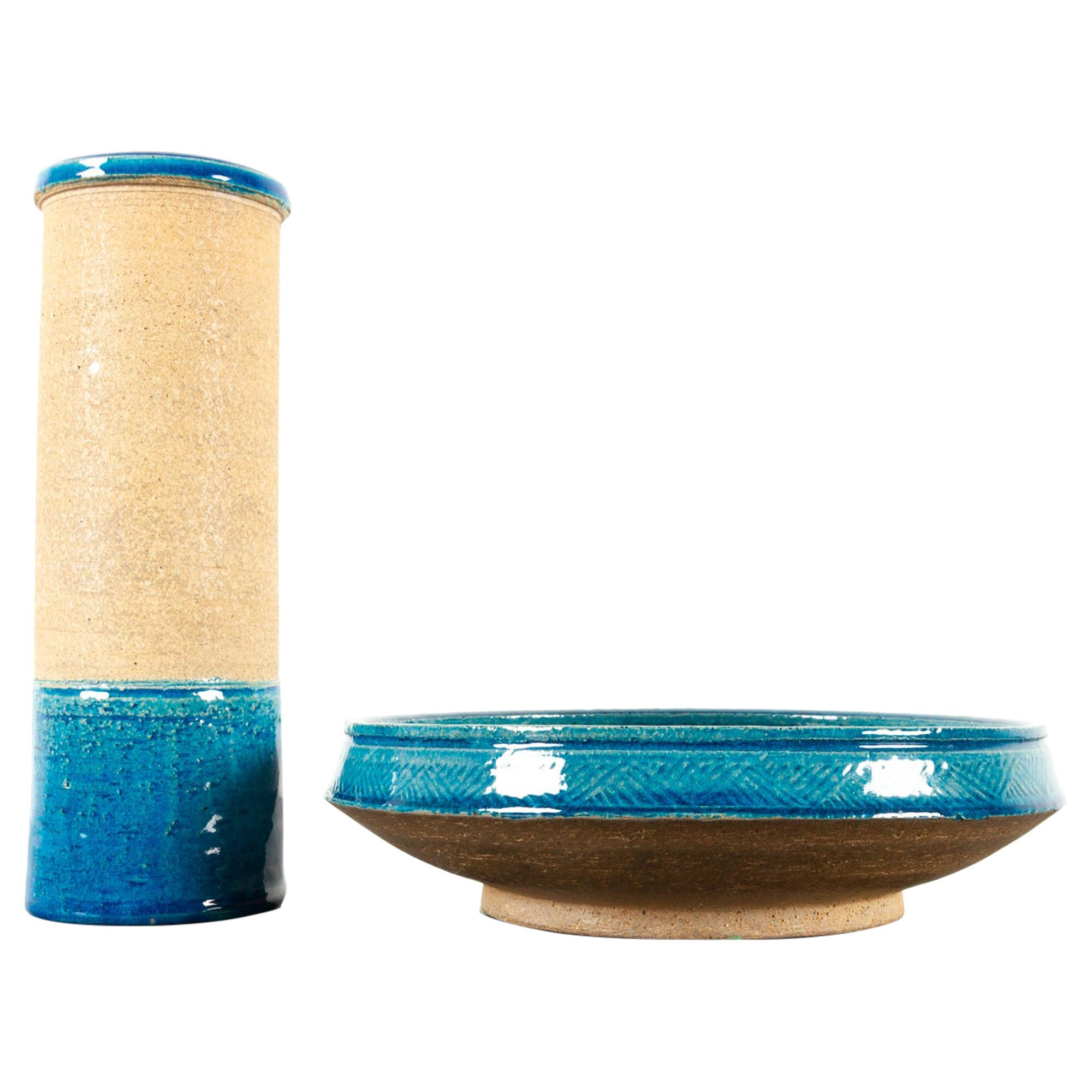 Vintage Danish Ceramic Bowl and Vase by Nils Kähler for Kähler Ceramics, 1960s