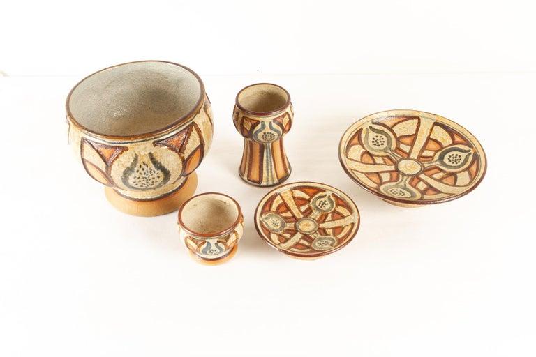 Mid-Century Modern Vintage Danish Ceramic by Søholm 1960s Set of 5 For Sale
